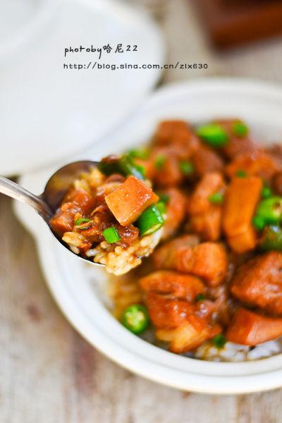 秘制杏鲍菇卤肉拌饭