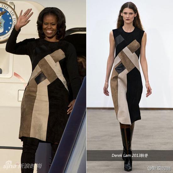 米歇尔身穿DerekLamNYC的2013秋冬系列拼接连衣裙
