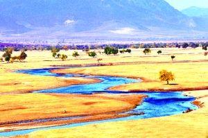 黄色沙漠中的河流