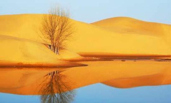 库布齐沙漠诗情画意 七星湖星空妙不可言