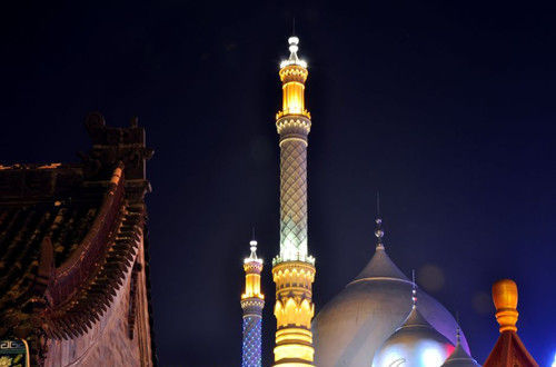 伊斯兰景观街夜景