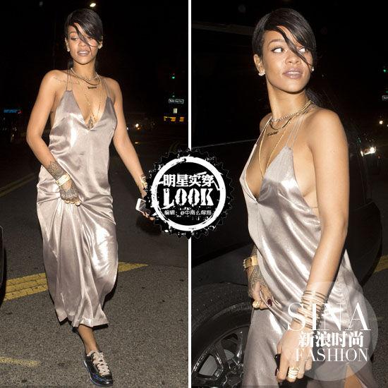 蕾哈娜睡裙出街