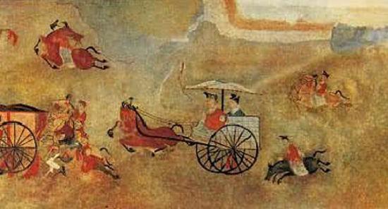 《舞乐百戏图》堪称汉代壁画的精品之一,反映出中国早期绘画的观念。该图采用罗列式构图,图中描绘的是墓主及宾客,边饮酒边观看乐舞杂耍的情形。表演场地中间是一面建鼓,两侧各有一人执桴擂击,左边是乐队伴奏。弄丸表演者轻松地同时飞掷五个弹丸;飞剑者正跳跃着将剑抛向空中;舞轮者站在踏鼓上将车轮抛起在空中;倒提者在四重叠案上倒立。童技是最惊险的节目,一人仰卧地上,手擎樟木,樟头安横木,中间骑一人,横木两侧各一人,作反弓倒挂状。画面上部,一男子与一执飘带的女子正翩翩起舞。表演者都赤膊,束髻,肩臂绕红带,动作优美、矫健
