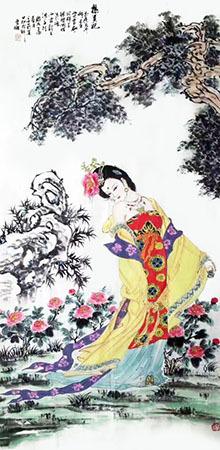 工笔画《杨贵妃》70cm×140cm