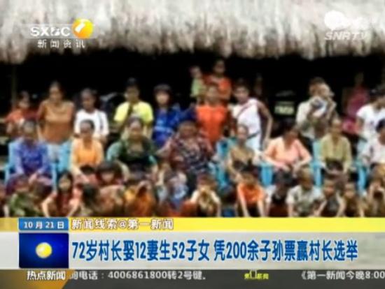 印尼村长拥12妻52子女 靠百余子孙票连任