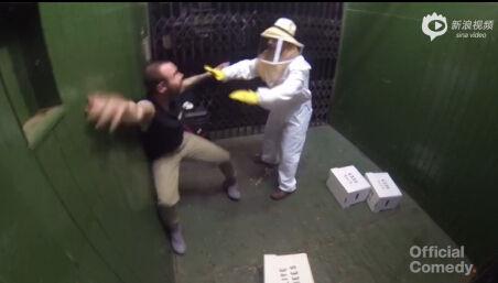 """养蜂人恶作剧货梯内不小心打翻""""蜂箱"""""""