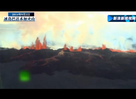 航拍冰岛火山喷发 岩浆蹿至30米高空